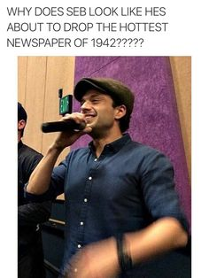 Extra extra read all about it, I have a huge crush on Sebastian Stan Funny Marvel Memes, Marvel Jokes, Marvel Avengers, Sebastian Stan, Marvel Actors, Raining Men, Stucky, Bucky Barnes, Winter Soldier