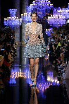 ELIE SAAB Haute Couture Fall Winter 2014-2015; Dress; V neck; Scoop neck; Glitter; Blue; Light; Gold; Pumps; Black; Clutch; Silver; Nail; Nude; Belt; Fall; Autumn; Winter.