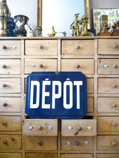 Very large French enamel street sign.Home industrial decoration.Depot,store advertising.