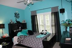 Tiffany blue and black teen room