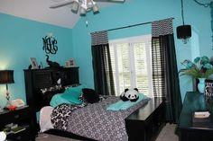 Tiffany blue and black teen room