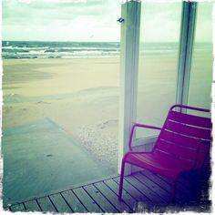 Uitzicht vanuit het strandhuisje van KUST.nu in Katwijk aan Zee.