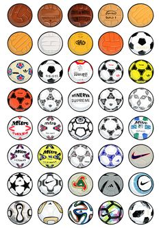A design showcasing the evolution of footballs from the to the 2018 World Cup. So many memories, reminding you of moments from tournaments, genius players or a kick about with your mates. Soccer Pro, Soccer Tips, Play Soccer, Soccer Players, Soccer Ball, World Football, Football Kits, Sport Football, Equipement Football