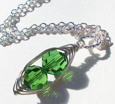 Two Peas In A Pod Necklace  STERLING SILVER by Kikiburrabeads, $20.00