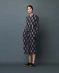 PAISLEY PRINT SHIRT DRESS (Toast)
