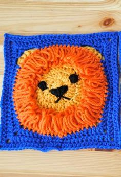 Crochet 8 x 8 Lion Square - free crochet pattern! (in the buy it section, click on the download free pattern button) - no registration needed!
