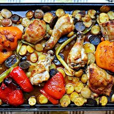 Harissa Chicken, Potatoes, and Veg is a completely satisfying and wholesome one pan dinner. The crispy skinned chicken, savoury potatoes and roasted vegetables make this dish a weeknight staple. Harissa Chicken, One Pan Dinner, Chicken Potatoes, Roasted Vegetables, Quick Easy Meals, Vegetable Recipes, Main Dishes, Yummy Food, Stuffed Peppers