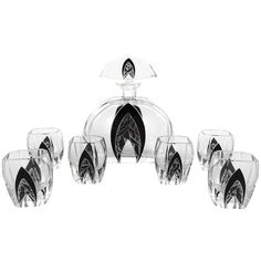 Art Deco Modernist Karl Palda Bohemian Crystal Glass Decanter Set, 1930s   From a unique collection of antique and modern barware at https://www.1stdibs.com/furniture/dining-entertaining/barware/