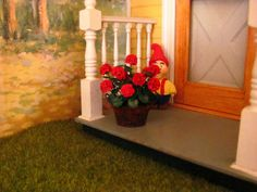 """Dollhouse Miniature Furniture - Tutorials   1 inch minis: RUSTY PAN OF GERANIUMS TUTORIAL, How to make cheap 1 inch scale geraniums with paper with a """"rusty"""" pan made from card stock."""