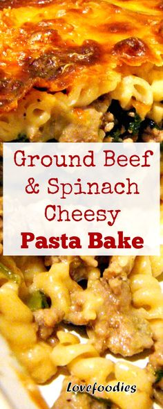 Ground Beef and Spinach Cheesy Pasta Bake. Easy to make and very tasty! Freezer Friendly too. Ground Beef and Spinach Cheesy Pasta Bake. Easy to make and very tasty! Freezer Friendly too. Baked Pasta Recipes, Spinach Recipes, Meat Recipes, Dinner Recipes, Cooking Recipes, Beef Spinach Recipe, Drink Recipes, Fall Recipes, Healthy Recipes