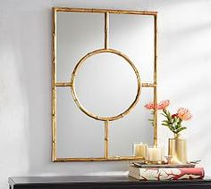 Monique Lhuillier Gold Bamboo Trellis Mirror