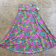 NWT Lularoe Pink Blue Floral Maxi Skirt Long Size XL Slinky  | eBay