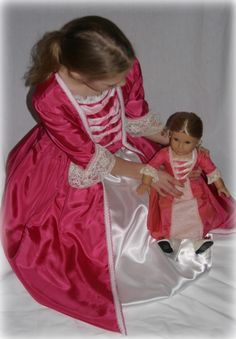 Matching American Girl Meet Elizabeth by HistoricallyDesigned American Girl Clothes, Girl Doll Clothes, American Girls, Girl Clothing, Original American Girl Dolls, American Girl Felicity, Doll Costume, Cosplay Costumes, Future Daughter