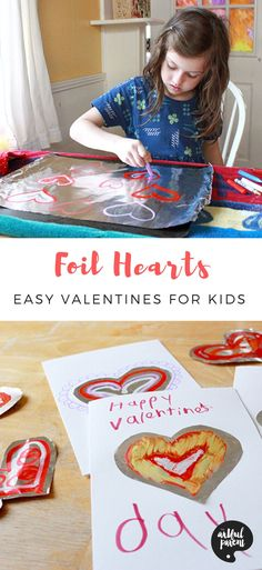 "Kids will enjoy drawing with melted crayons on these foil heart valentines. This project is from my book, ""The Artful Year: Celebrating the Seasons & Holidays with Crafts & Recipes"". Valentines Puns, Valentine Crafts For Kids, Valentines Day Activities, Crafts For Kids To Make, Art For Kids, Holiday Crafts, Preschool Arts And Crafts, Art Activities For Kids, Creative Activities"