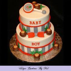 Buckeye Baby Shower Cake for an Ohio State fan.