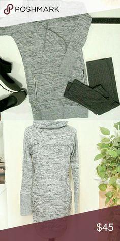 ATHLETA SPORT IT DRESS Grey Cow neck sweatshirt dress w/zip front pockets.  Sz Sm L Athleta Dresses Midi