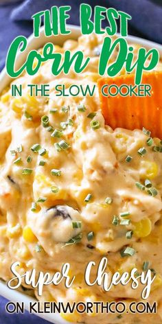 If you love great snacks to enjoy on game day, then you will swoon over this zesty Cheesy Corn Dip. Just a handful of ingredients and a crockpot is all you need to make this dip that had my family begging for more. It's really THE ABSOLUTE game day favorite! A must make during college basketball games. Healthy Crockpot Recipes, Slow Cooker Recipes, Beef Recipes, Cooking Recipes, Dip Recipes, Snack Recipes, Savoury Recipes, Savoury Dishes, Healthy Food