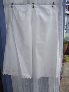 Antique French Ladies Undergarments. Pantalettes, Bloomers, Mid 1800s. Monogram MG, Cut work .