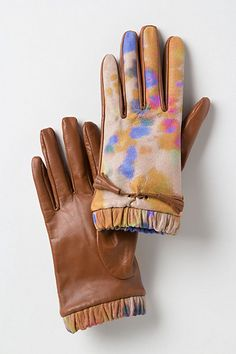 Painterly Leather Gloves #anthropologie