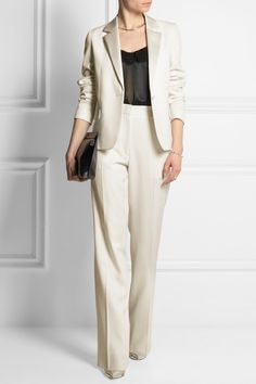 VICTORIA BECKHAM satin-trimmed wool tuxedo jacket £1,750 and wide-leg pants £850 | LANVIN lace-trimmed silk-satin camisole £645 | LOEWE leather clutch £425 | GIANVITO ROSSI leather, PVC and suede pumps £520