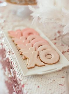 XOXO cookies - cute for bridal shower or reception