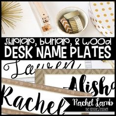 16 Desk Name PlatesIn Fixer Upper style, desk name plates in 8 different designs, plus with and without accents like ribbon, strings of bulbs, banners, etc. These would also be perfect to use for labeling book boxes, paper trays, carts, and drawers. You will need to have access to Microsoft PowerPoint to open and/or edit this file.