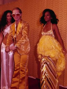 Diana Ross, Cher and Elton John at the Rock Music Awards 1975