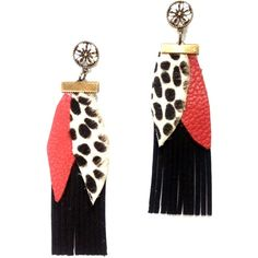 Boho black earrings with red and spotty animal leather leaves (£17) ❤ liked on Polyvore featuring jewelry, earrings, bohemian jewelry, polka dot earrings, animal jewelry, leather jewelry and dot earrings