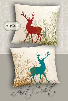 DEERS - Two Printable Digital Images to print on fabric / paper, Iron On Transfer for totes t-shirts pillows home decor