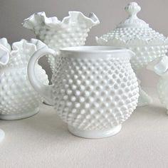 Vintage Fenton Hobnail Milk Glass Jug or Pitcher - White Glass Vase - Fenton Milk Glass, Fenton Glassware, Glass Jug, Glass Pitchers, Love Vintage, Vintage Vases, Vintage Glassware, Vintage Pottery, Vintage Items