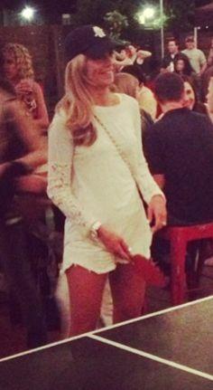 All white & a cap - Samantha Ponder