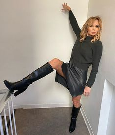Amanda Holden proves she is not letting her late night slow her down Sexy Older Women, Sexy Women, Britain's Got Talent, Amanda Holden, Tv Presenters, Sexy Boots, High Boots, Celebs, Celebrities