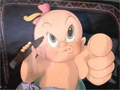 "In the 1988 classic film ""Who Framed Roger Rabbit"" the character Baby Herman has the appearance of an infant but the voice and demeanor of an adult male. This is because he was played by then 33 year old actor Lou Hirsch who was an actual adult male. Roger Rabbit Baby, Jessica And Roger Rabbit, Disney Movies, Disney Pixar, Cartoon Smoke, Baby Buggy, Movie Party, Cigar Smoking, Toot"