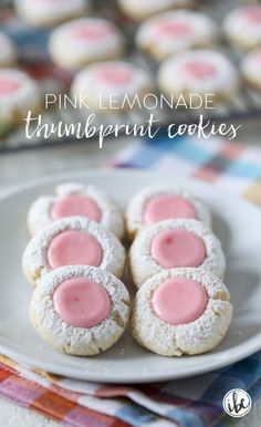 Pink lemonade thumbprint cookies spring easter cookie thumbprint recipe lemonade the 34 most adorable spring desserts of all time Bite Size Desserts, Desserts For A Crowd, Dessert Recipes, Summer Cookies, Easter Cookies, Pink Cookies, Baby Cookies, Flower Cookies, Heart Cookies