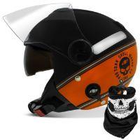 Capacete Aberto Pro Tork Highway Dreams Skull Riders Laranja Preto Fosco  Capacetes Abertos 849c9030cdf