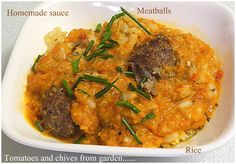 Layered Rice, Meatballs and Homemade Tomato Sauce from Bizzy Bakes