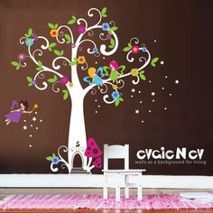 Children Wall Decals - Fairy Tree Decal with Flowers and Stars - evgieNev