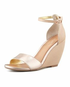 Thyme Metallic Wedge Sandal by Seychelles at Neiman Marcus.- good shoes to wear for the wedding bridesmaids