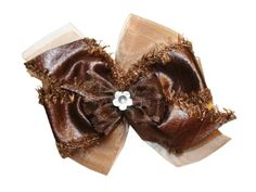 """#Webb_Direct_2U  Brown Leather Like Hair Bow with Fur & Sheer Organza Accents & a Clear Flower Rhinestone Center     Bow Measures Approximately 4"""" by 3""""     Bow is Attached Well to an Alligator Style Clip     Individually Handmade in the USA http://www.amazon.com/dp/B00HUG8W9S/ref=cm_sw_r_pi_dp_ZBTdtb0QRRMPY7BF"""