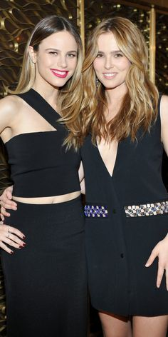 """Halston Sage and Zoey Deutch at the InStyle and Jimmy Choo's """"Girls' Night In"""" party."""
