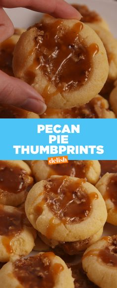 If you get through winter without making Pecan Pie Thumbprints, BIG mistake. Get the recipe at Delish.com. #recipe #easyrecipes #cookies #pecan #pecanpie #shortbread #baking #caramel