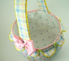 Scallop Fabric Basket Pattern  IMMEDIATE DOWNLOAD AVAILABLE  This listing is for instructions to make this sweet pieced fabric basket. You can make it using several fabrics or a single fabric. Or make it plainer by omitting the scallop edge or rickrack. Lots of possibilities.  This basket has many uses. Its perfect for Easter for both a girl or boy with its different options. It would be great to welcome a new baby or new Mom. It would be nice for a housewarming gift. Leave the handle off…