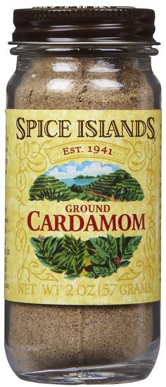 Cardamom:  Cardamom can be bought ground or whole  - Detoxifies the body of caffeine  - Cleanses kidneys and bladder  - Stimulates digestive system and reduces gas  - Expectorant action  - Improves circulation to the lungs and thus considered good for asthma and bronchitis  - Antispasmodic  - Can counteract excess acidity in the stomach  - Stimulates appetite  - Remedy for tendency to infection  - Cures halitosis (bad breath)