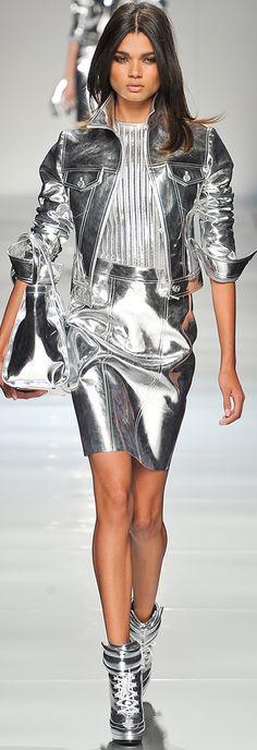 Blumarine Spring 2013 RTW very silver leather