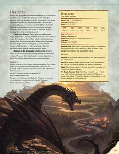 Hellkite - Ferocious Lesser Dragon : UnearthedArcana Dungeons And Dragons Classes, Dungeons And Dragons Homebrew, Fantasy Creatures, Mythical Creatures, Mythological Creatures, Skyrim, Dnd Stats, Dnd Dragons, Dnd Races