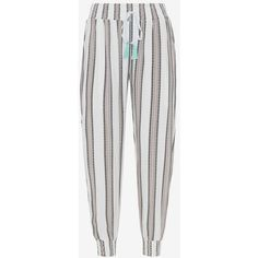coolchange Gypset Goa Stripe Beach Pant (13.130 RUB) ❤ liked on Polyvore featuring pants, elastic-cuff pants, white striped pants, elastic ankle pants, white beach pants and white pants