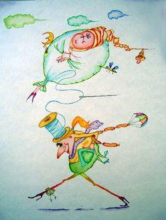 """Walk"" original whimsical watercolor illustration from artist Marina Sciascia ((USA)"