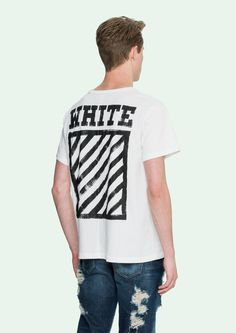 White t-shirt with black brushed diagonals
