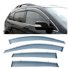 CUSTOM 4pcs Smoke Tint With Chrome Trim PVC Outside Mount Tape On/Clip On Style PVC Sun Rain Guard Vent Shade Window Visors Fit 07-11 Honda CRV CR-V -- Awesome products selected by Anna Churchill