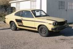 """Car 61 - 1977 Mazda RX3 - 15th race - This RX3 was purchased in Ventura California late July 1980 as a replacement for our first RX3 race car which was claimed by a competitor at the Pueblo event a week earlier.  The rules of Showroom Stock included a provision that a competitor could """"claim"""" another car for Blue Book price plus $500.  A good rule which they abandoned shortly later."""